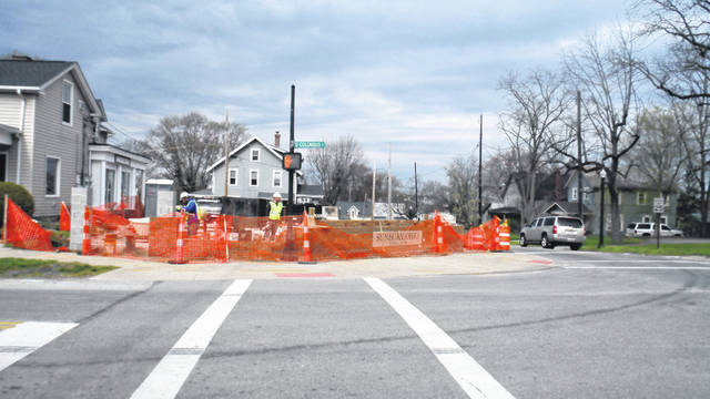 Construction continues on a new parking lot at Cherry and Columbus streets in Sunbury.