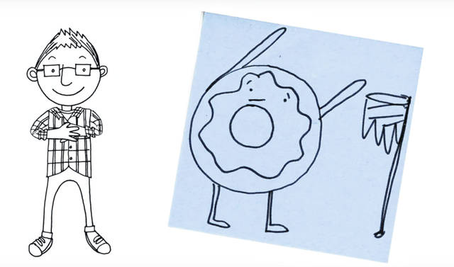 "Pictured is a screenshot taken from a recent episode of ""Drawing with Mr. J."" The episode focuses on drawing a donut playing a sport. The illustration was done by OLSD art educator Jonathan Juravich, while the animation was done by WOSU's Ben Bays."