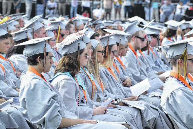 Hayes High School seniors at commencement in 2019. On Monday, the district discussed plans for the 2020 commencement.