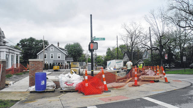 Wet weather has kept a construction project at the corner of Cherry and Columbus from being completed. This photo was taken on May 22.