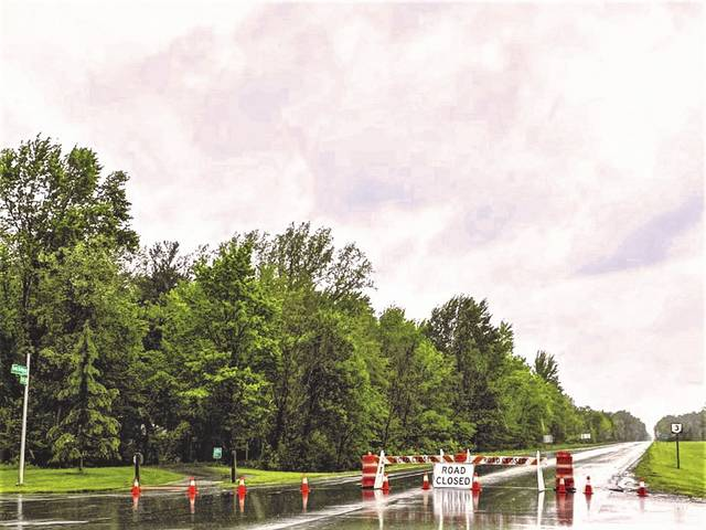 Due to heavy rains, state Route 3 was closed between Lewis Center and Big Walnut roads on Tuesday afternoon.