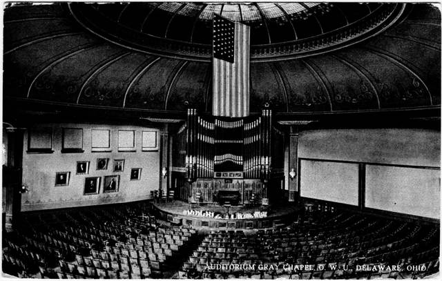 Image from an 1893 postcard of Gray Chapel, located inside Ohio Wesleyan's University Hall.