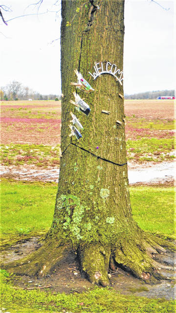 On a recent rainy morning, a tree on North Galena Road in Kingston Township had homemade masks in bags attached to clothespins on a line. The homeowners have said visitors are allowed to grab a mask but are requested to be considerate and take only what they need.