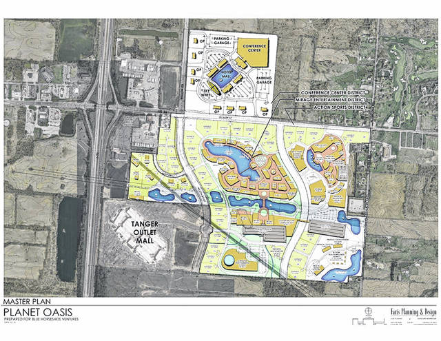 This design plan shows what developers had in mind for Planet Oasis.