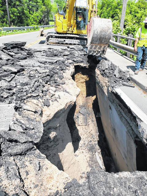 Pictured is the sinkhole that developed on U.S. Route 42 near Greenwood Lake in Delaware.