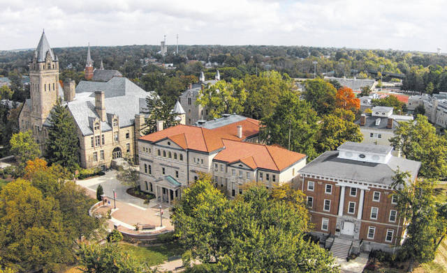 Several historic buildings are visible in this aerial shot of the Ohio Wesleyan University campus. The university is launching a new initiative to improve diversity, equity, and inclusion on campus.