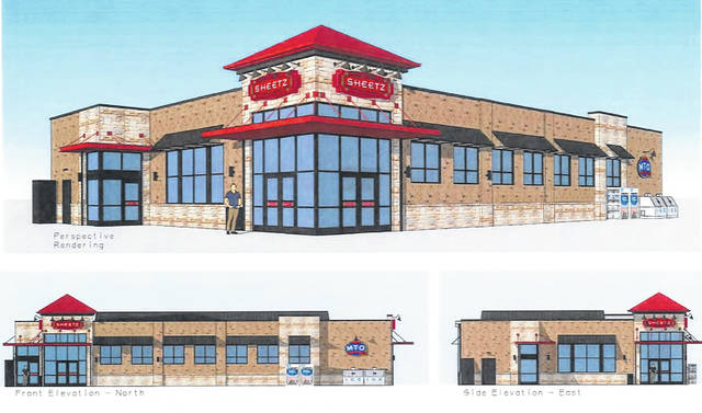 Pictured is an architectural rendering from different elevations of the proposed Sheetz location at Coughlin's Crossing in Delaware.
