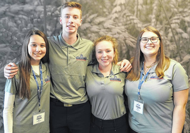 Pictured, left to right, are Allison Riley from Delaware County, Brady Corbitt from Union County, Dana Clinedinst from Morrow County, and Virginia Porter from Delaware County.