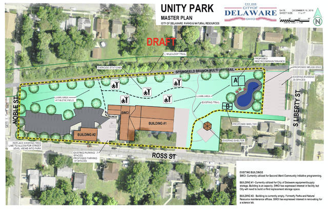 Ross Street Park in Delaware is scheduled to undergo numerous changes, one of which includes a name change to Unity Park. Pictured is the proposed master plan for the upgrades to the park, which surrounds the Second Ward Community Center. The park is located on Ross Street, between South Liberty and Noble streets.