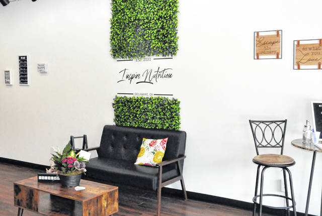 Pictured is one of the seating areas inside Inspire Nutrition Delaware at 34 S. Sandusky St. in downtown Delaware.