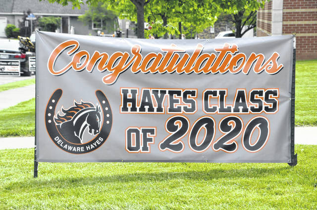 This sign congratulating the Hayes High School Class of 2020 was prominently displayed on campus during the drive-thru graduation ceremony held last month.