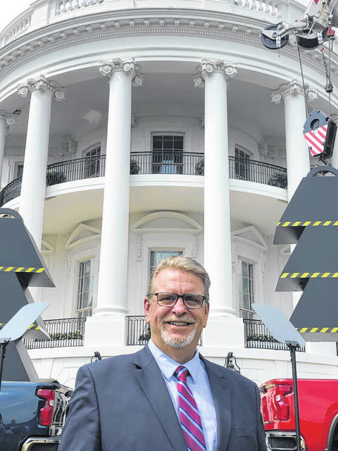 Delaware County Engineer Chris Bauserman poses for a photo in front of the White House in Washington, D.C.