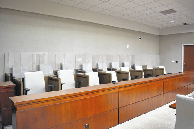 Dividers and plexiglass screens have been added to the jury boxes in the courtrooms for the Delaware County Common Pleas Court, which has allowed the court to begin hearing jury trials again.