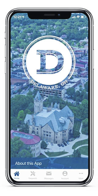 Pictured is the City of Delaware's new Del-AWARE mobile app.