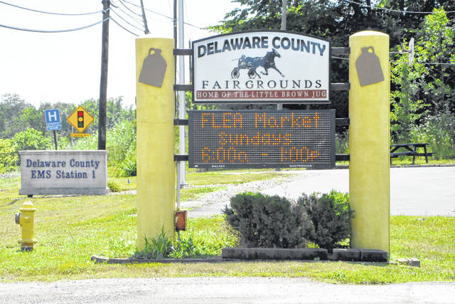Pictured is the sign at the entrance to the Delaware County Fairgrounds on U.S. Route 23 in Delaware.