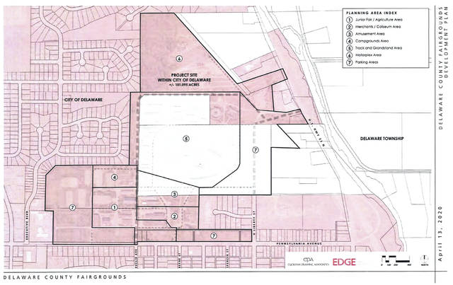 Pictured is a map of the newly rezoned Delaware County Fairgrounds. The following planning areas are labeled on the map: 1 (Junior Fair/Agriculture Area), 2 (Merchants/Coliseum Area), 3 (Amusement Area), 4 (Campgrounds Area), 5 (Track and Grandstand Area), 6 (Motorplex Area) and 7 (Parking Areas).