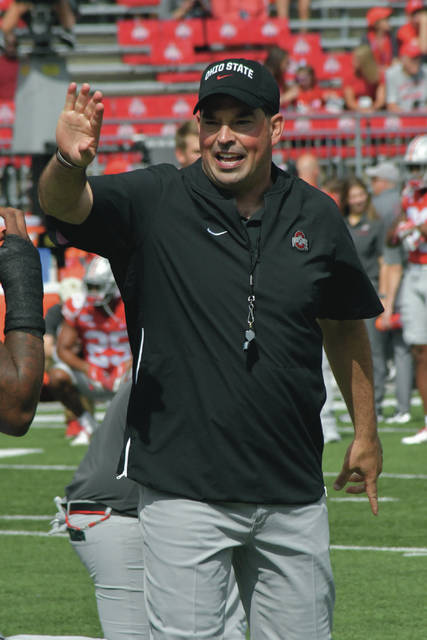 Ohio State head coach Ryan Day prepares his team prior to a game on Sept. 7, 2019.