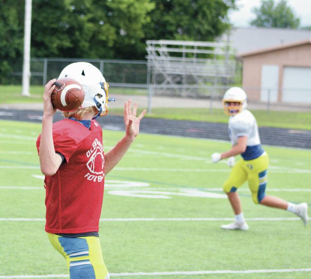 Olentangy football players practice earlier this summer. On Tuesday, Governor Mike DeWine permitted contact sports to move forward with competitions, putting the onus on school districts to decide whether to play or not.