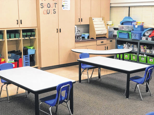 Chairs and tables will be further apart this year at Delaware City Schools to allow students and staff to remain socially distant from each other. The district announced that only 50% of students will attend in-person classes at a time to keep everyone as safe as possible from COVID-19.