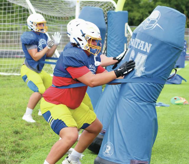 Olentangy linemen work on their technique during a practice earlier this summer in Lewis Center.