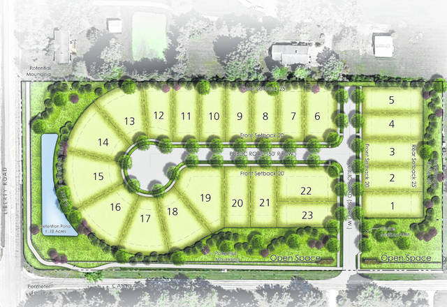Pictured is the illustrative plan for Carriage Farms, a subdivision proposed to be built on 9.43 acres at the northeast corner of the Liberty Road and Carriage Road intersection in Liberty Township.