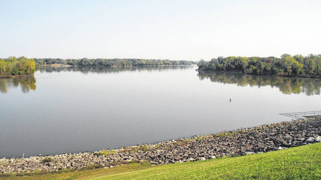 The view of Delaware Lake from atop the dam.