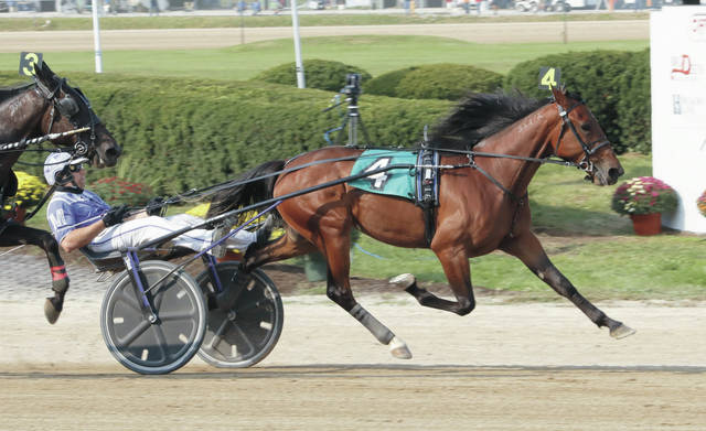 Street Gossip, driven by Brett Miller, wins the second division of the two-year-old colt trot in 1:57.3 Tuesday at the Delaware County Fair.