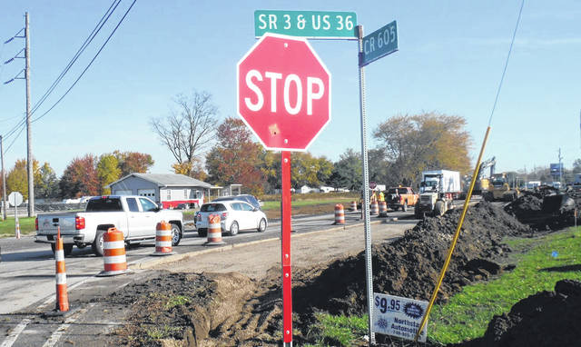 Traffic is stopped on state Route 3 in Condit as construction is being done. The two-lane road was down to one lane during the project.