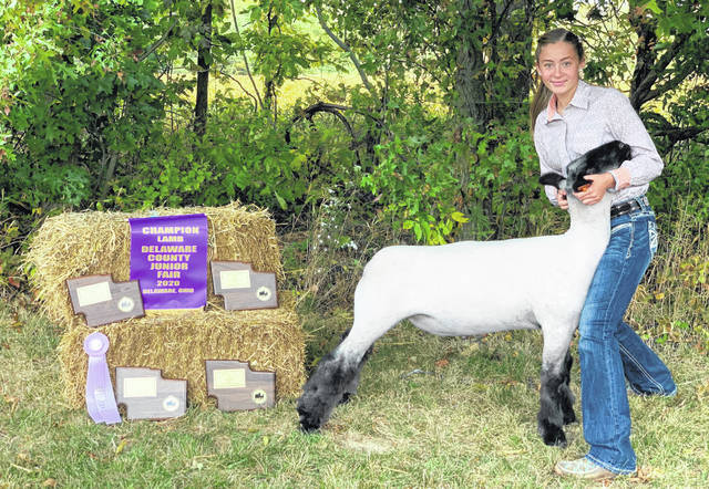 Big Walnut Middle School student Aubrey Altizer poses with her 2020 Delaware County Junior Fair champion lamb.