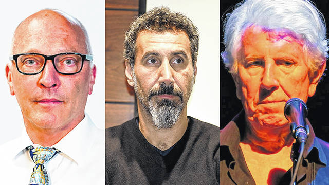 Pictured, left to right, are Thom Shanker, Serj Tankian and Graham Nash. The trio discuss the potential of rock music to promote social change with Ohio Wesleyan professor Sean Kay. Watch the panel discussion on OWU's YouTube channel.