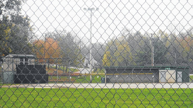 Ruffner Park's baseball field is seen through the outfield fence on a rainy Monday morning. The park is located at 183 Harrison St. in Galena.