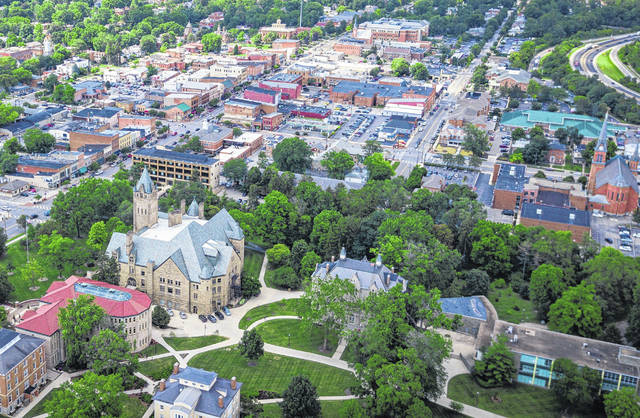 Pictured is an aerial view of downtown Delaware and a portion of the Ohio Wesleyan University campus.