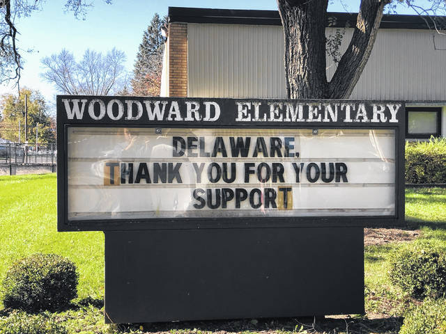 A sign in front of Woodward Elementary School Wednesday morning thanks Delaware voters for passing the 11.73-mill substitution levy on Election Day. The levy generates $9.4 million annually for the district and funds day-to-day operations in the district.