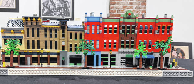Pictured is a section of Ike Greenwood's Lego display showing the block of North Sandusky Street that stretches from just south of Old Bag of Nails to East Winter Street in downtown Delaware. Greenwood said he hopes to build all of Winter Street one day in the future.