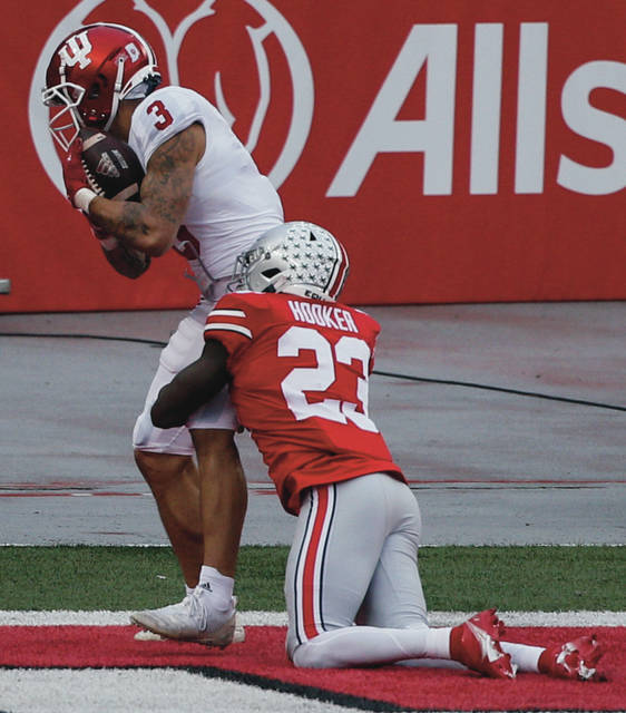 Ohio State safety Marcus Hooker is beaten for a touchdown during Saturday's 42-35 win over Indiana in Ohio Stadium.