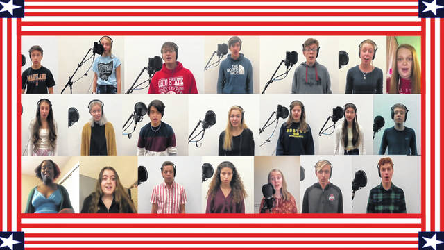 "Members of the Hayes High School Choir perform ""Stand Up and Cheer"" during the virtual Veterans Day assembly that was shot and edited by Hayes video production students."