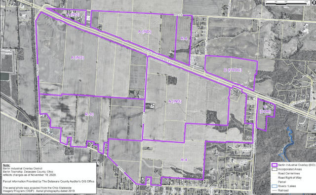 A map showing the western overlay of the Berlin Business Park, which runs along the U.S. Route 36/state Route 37 corridor from Sweeney Road to Lackey Old State Road.