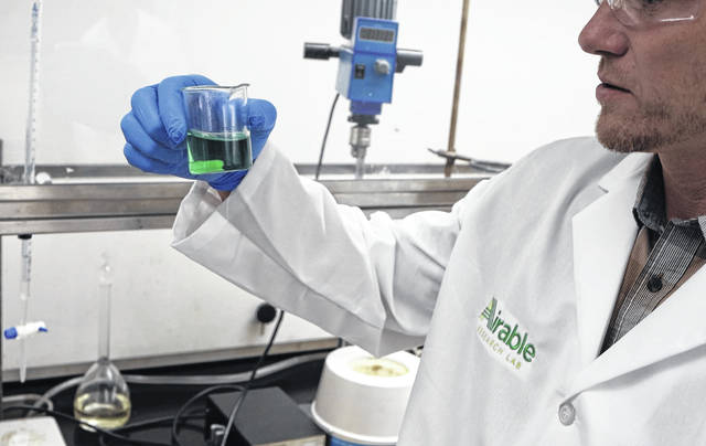 Airable Research Lab founder Barry McGraw works in the lab at Ohio Wesleyan University in Delaware.