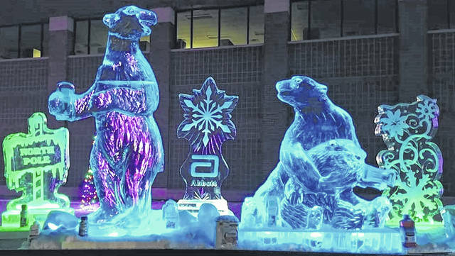 Pictured are several examples of previous ice sculptures created by Rock on Ice, which is bringing its ice sculpting show to the Delaware County Fairgrounds in February.