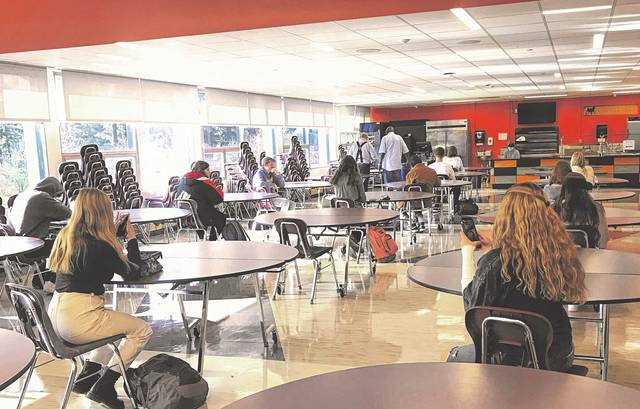 Students at Hayes High School eat lunch in the Home Stretch Wednesday afternoon.