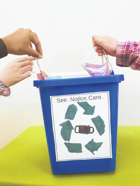 Pictured is one of the mask collection bins at Buckeye Valley East Elementary in Ashley.