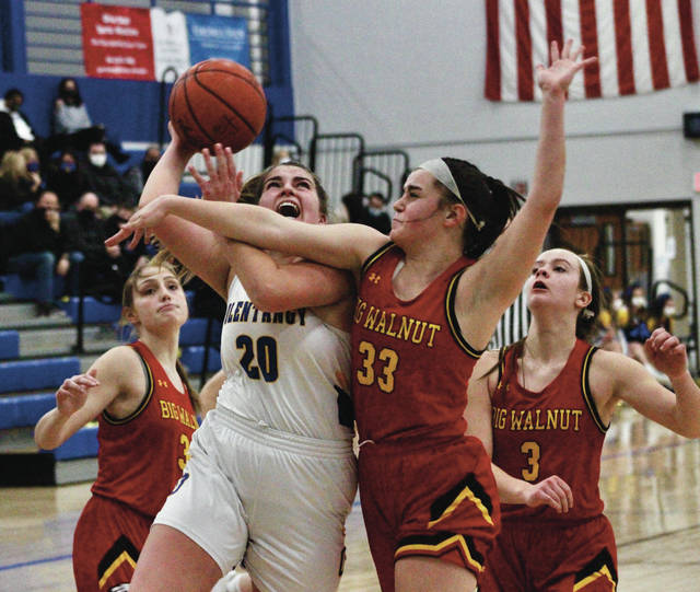Olentangy's Dani Beidelman (20) fights through contact from Big Walnut's Mel Sena during the first half of Friday's Division I sectional final in Lewis Center.