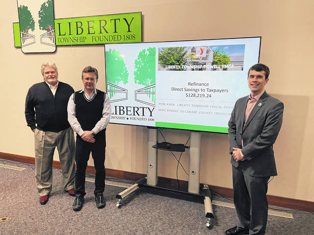 Pictured, left to right, is the team that put together the refinancing of the Liberty Township YMCA: Delaware County Treasurer-elect Don Rankey, Liberty Township Fiscal Officer Rick Karr and Delaware County Treasurer Michael Ringle.