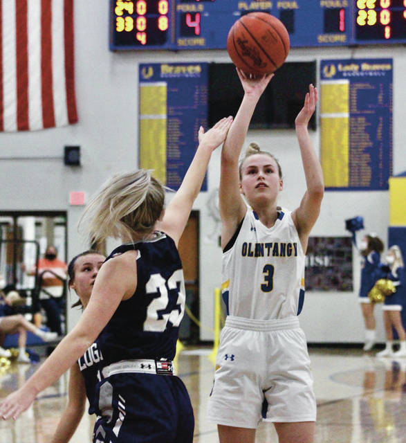 Olentangy's Meg Spohn (3) shoots over Logan's Abbie Dicken (23) during the first half of Wednesday's Division I district semifinal in Lewis Center.