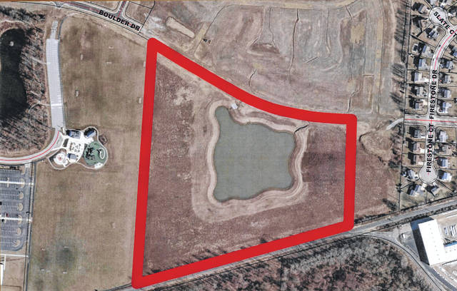 This aerial map highlights where the recently approved Boulder Reserve subdivision will be located. Pictured to the left of the property is Veterans Park at 1121 S. Houk Road in Delaware.