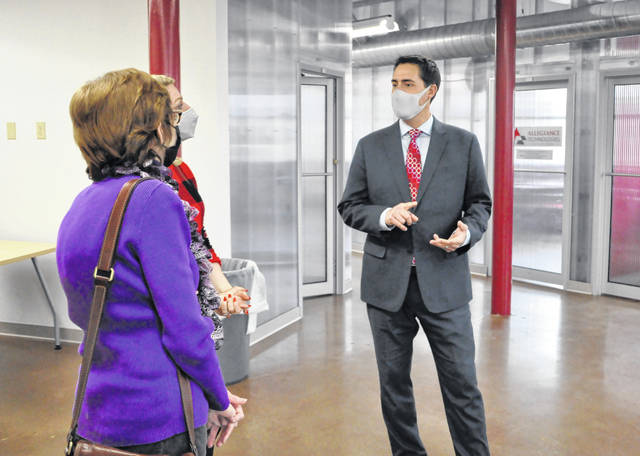 Ohio Secretary of State Frank LaRose visited with local leaders and entrepreneurs Tuesday at the Delaware Entrepreneurial Center at Ohio Wesleyan University. After touring the facility, LaRose took part in a roundtable discussion on the topic of entrepreneurship. LaRose is pictured speaking with Delaware County Commissioner Barb Lewis, left, and Delaware Entrepreneurial Center Director Megan Ellis, middle, during the tour.