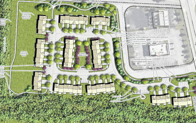This illustrative plan drawing shows the site layout for Cheswick Village. Pictured adjacent to the development on the east side is Car Wash Depot and Steak 'n Shake, both located on Owenfield Drive in Powell.