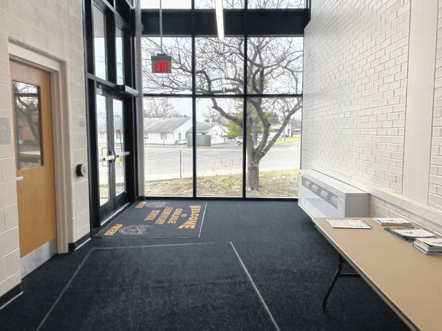The view of the parking lot from the new entrance at Carlisle Elementary School. District officials said the new entrance will increase safety and security at the building.