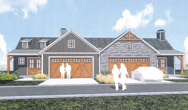 Plans were presented Wednesday to the Delaware Planning Commission for a new condominium development on Houk Road. Pictured is a rendering shared with the city.