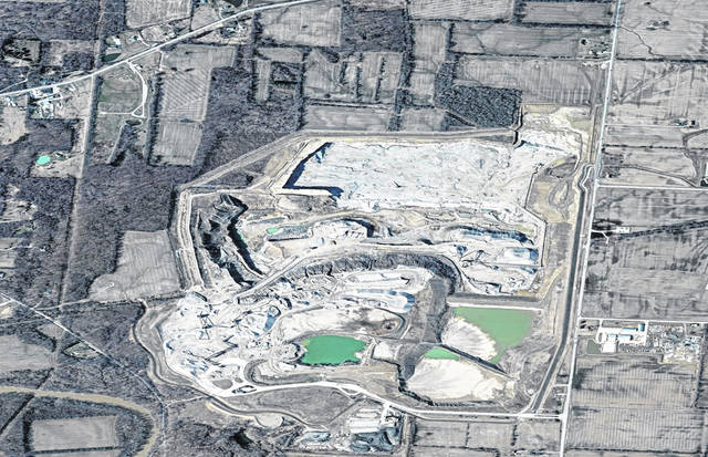 Pictured is an aerial view of the quarry located on South Section Line Road in Delaware. It is owned by the National Lime & Stone Company.